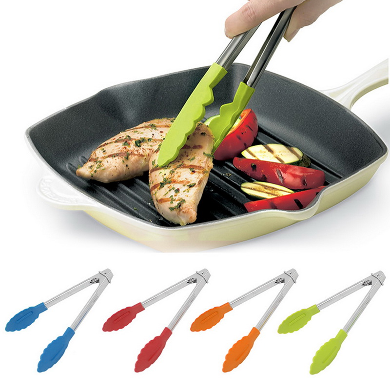 Tongs Pastry-Clamp Salad Cooking-Tools Serving Stainless-Steel Silicone Anti-Heat-Clip