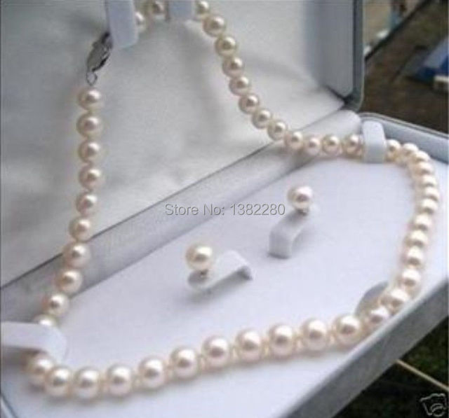 87cfd3c70259 Free Shipping Beautiful 8 9mm White Akoya Pearl Necklace Earring 17 5 JT5077
