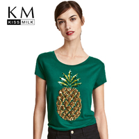 Kissmilk Plus Size Women Pineapple Sequined Solid Green T Shirt O Neck Short Sleeve Basic Tops