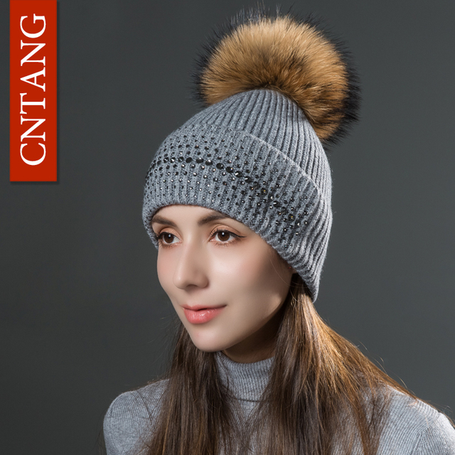CNTANG Women s Knitted Wool Rhinestone Hats Beanies Autumn Winter Warm Caps  With Natural Fur Pom Pom Fashion Ladies Hat Skullies 7934351cd28