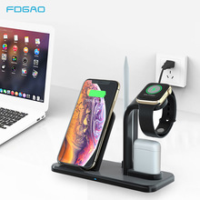 FDGAO Wireless Charger Stand For iPhone X XS MAX XR 8 plus Qi 10W Fast Chargeing Dock Station For Apple Watch AirPods Charger fdgao 3 in 1 charging dock station stand for airpods apple watch 10w fast qi wireless charger for iphone x xs max xr 8 7 6 plus