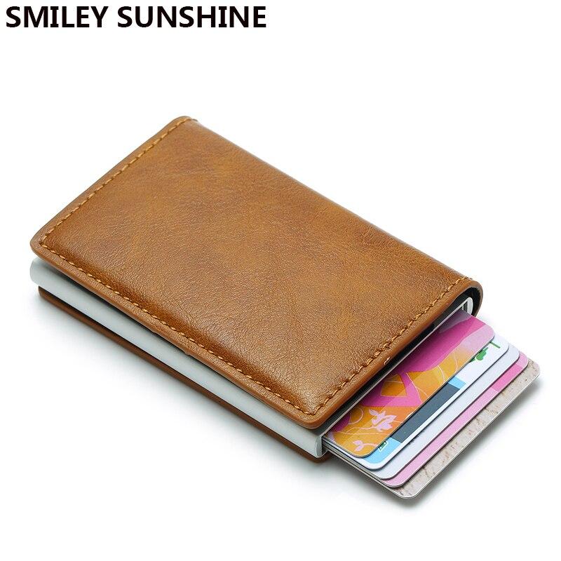 Dienqi Rfid Pop Up Men Wallets Money Bag Smart Mini Magic Wallet Male Women Small Leather Boys Wallet Thin Metal Purses Vallet Luggage & Bags