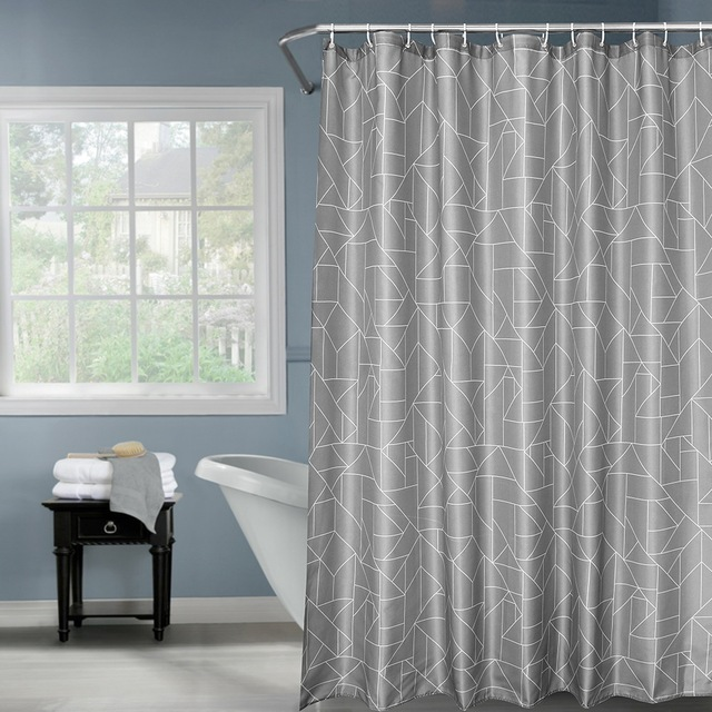 Fabric Polyester Gray Color Waterproof Shower Curtain Thicken Shower ...