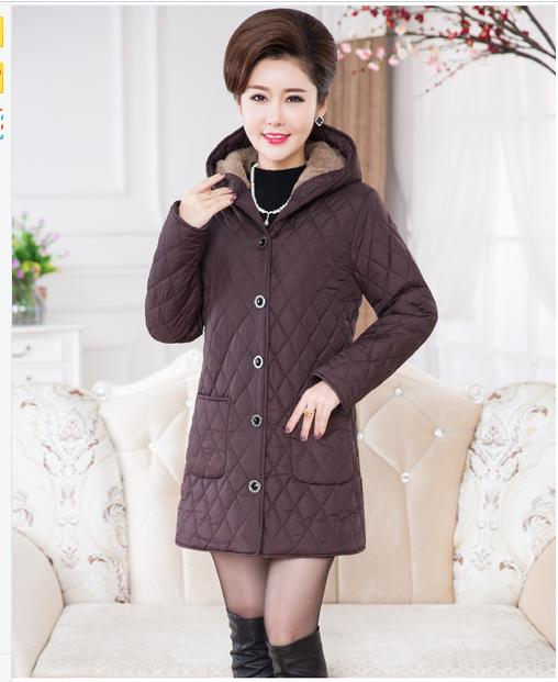 Basic     jacket   elderly women 's winter coat cotton velvet autumn plus thick   jacket   in the long paragraph Mama loaded Mianfu