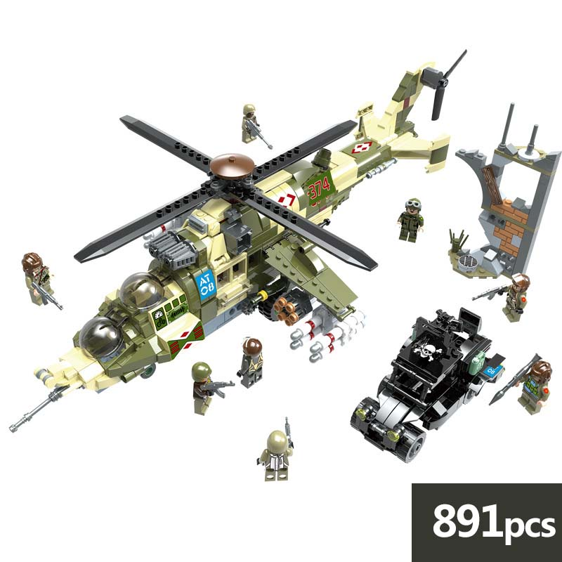 Military series Russia MI 24 Hind hellichooper Building Blocks soldier figures Toys for Children gifts compatible