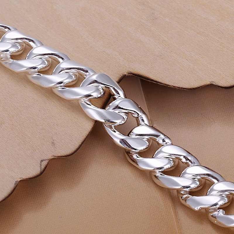 OMHXZJ Wholesale European Fashion Man Party Wedding Gift Wide Silver alloy Chain Necklace NA188