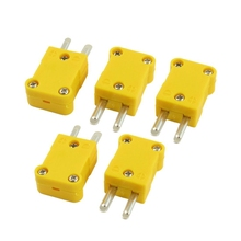 5 Pcs Yellow Plastic Case Flat Male 2-Pin K Type Thermocouple Wire Connector