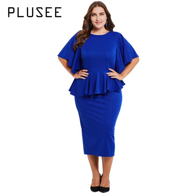 PLUSEE Women Plus Size Midi Dresses High Quality Solid Color Ruffles ...