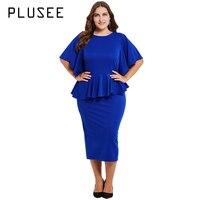 PLUSEE Women Plus Size Midi Dresses High Quality Solid Color Ruffles Bodycon Dress Mid Length Party Dress Vestidos L 3XL 4XL