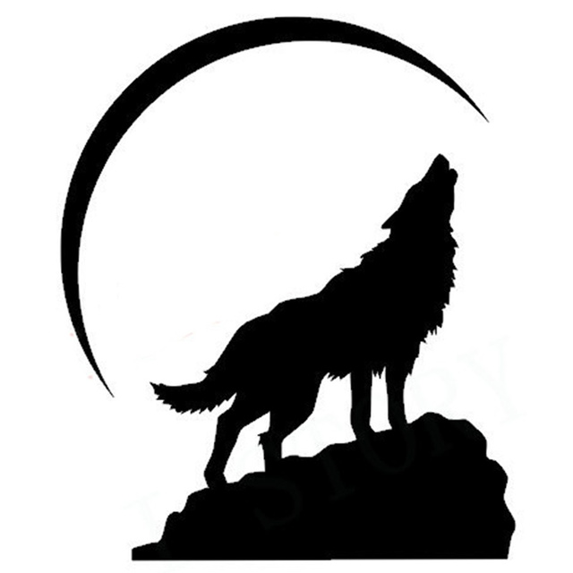 Free Shipping Howling Wolf At Crescent Moon Vinyl Wall Decal Home Decor Vinyl Sticker Rustic Home