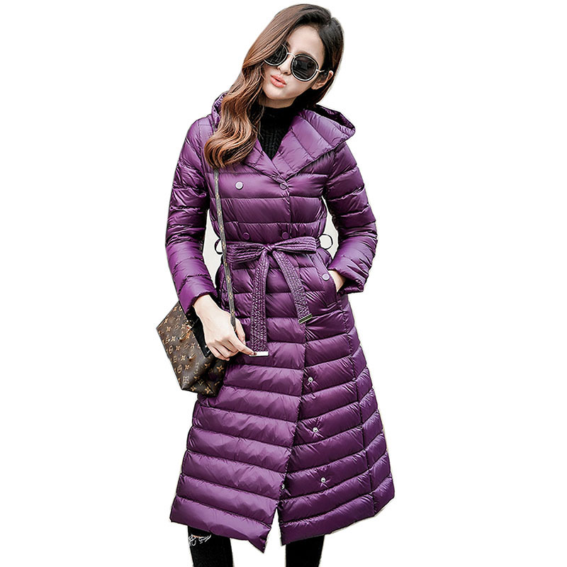 2018 New Slim Long Down Jacket Female White Duck Down Womens Hooded Ultra Light Down Jacket Spring and autumn women Down coats