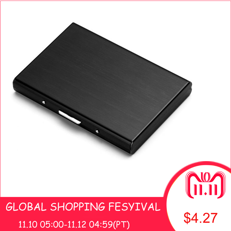 Card Holders Waterproof Stainless Steel Silver Metal Case Credit Card fashionBusiness Cardcase Bank ID Card Holder Name C0006 fashion black stainless metal waterproof card holders metal credit card case business name card case bank id card holder