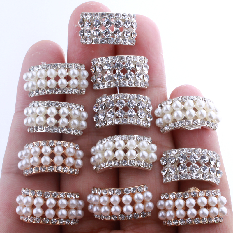 10PCS 10*20MM Chic Arch Shape Crystal Rhinestone Buttons For Wedding Embellishment Round Pearl Button Decoration(China)