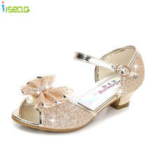 Children summer sandals for girls 2018 new style,Princess crystal high-heel child girl bow tie shoes, BS159