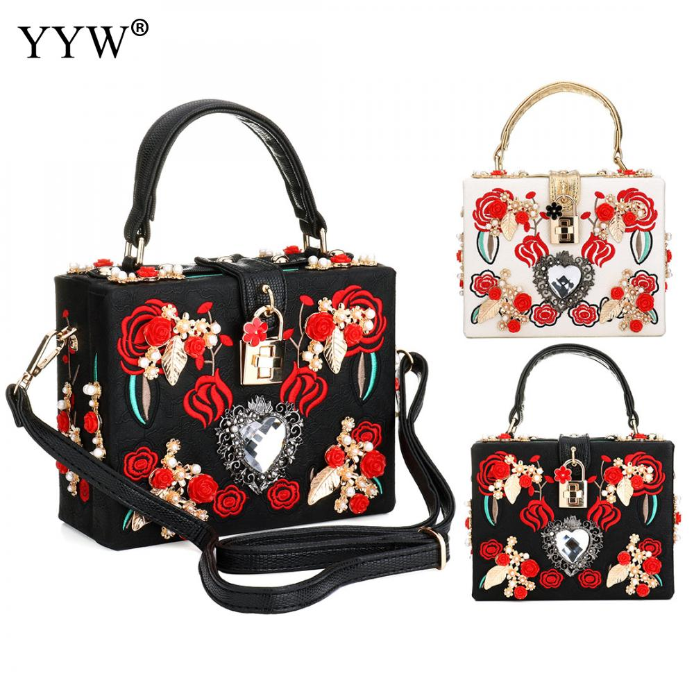 Luxury Women Bags Evening Party Bag for Female 2018 Floral Pattern Tote Bag Lady's PU Leather Handbag Famous Brand Crossbody Bag beaumais mini chain bag handbag women famous brand luxury handbag women bag designer crossbody bag for women purse bolsas df0232