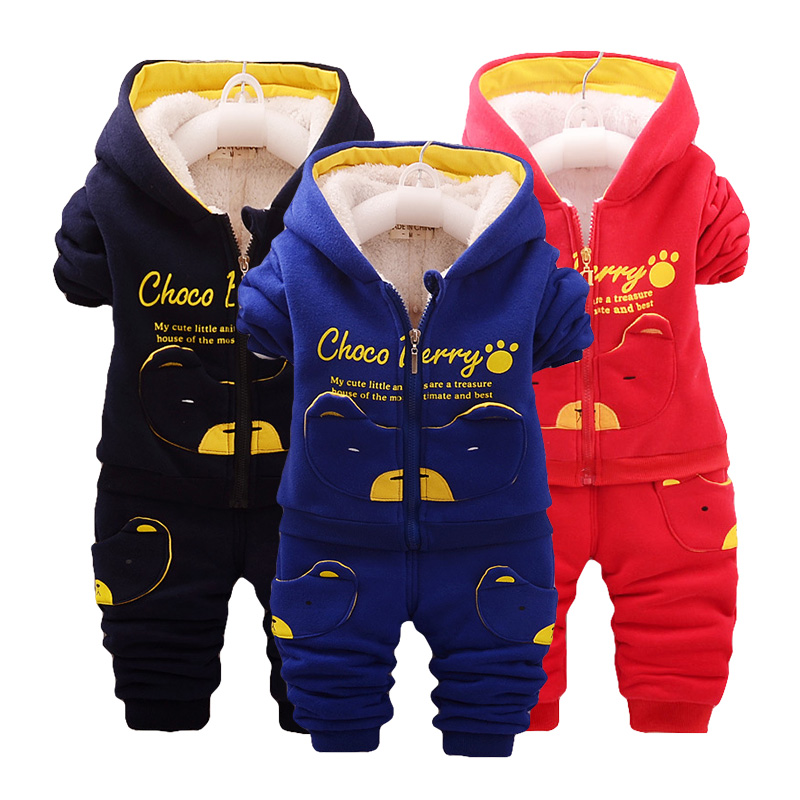 Autumn and winter bear children's clothing boys and girls set plus velvet thick clothes baby cotton suit