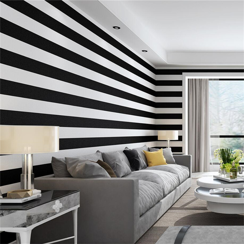 10m/roll Nordic Black And White Stripes Simplicity Modern