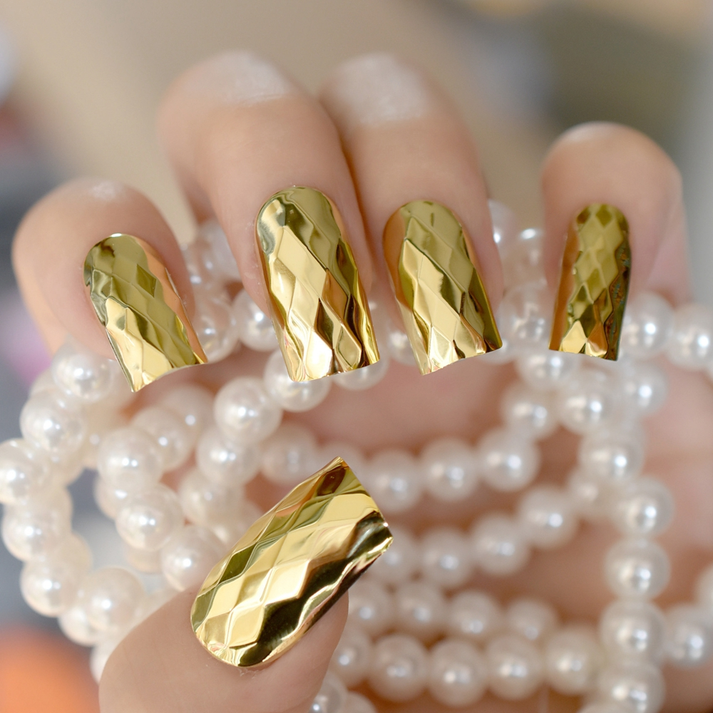 K Gold Mirror Fake Nails Ultra Long Square Metallic Lady Finger Nails Diamond Shape 3D Nail Art Tips with Glue Sticker ...