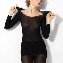 Women Winter Seamless Thermal Inner Wear Set Warm Tops+Pants