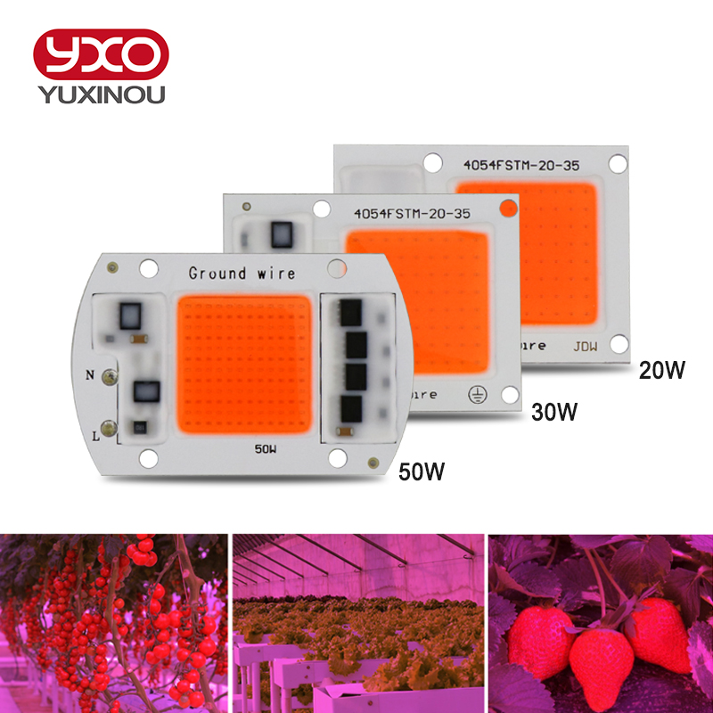 5pcs Hot ac220v real full spectrum 380-840nm indoor instead sunlight actual Power 20w 30w 50W DIY led grow light chip for plants