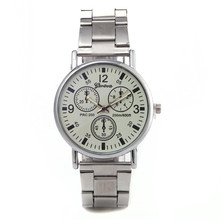 New Black and White Neutral Watch Bright Glass Three-eye Steel Mens Quartz Chronograph