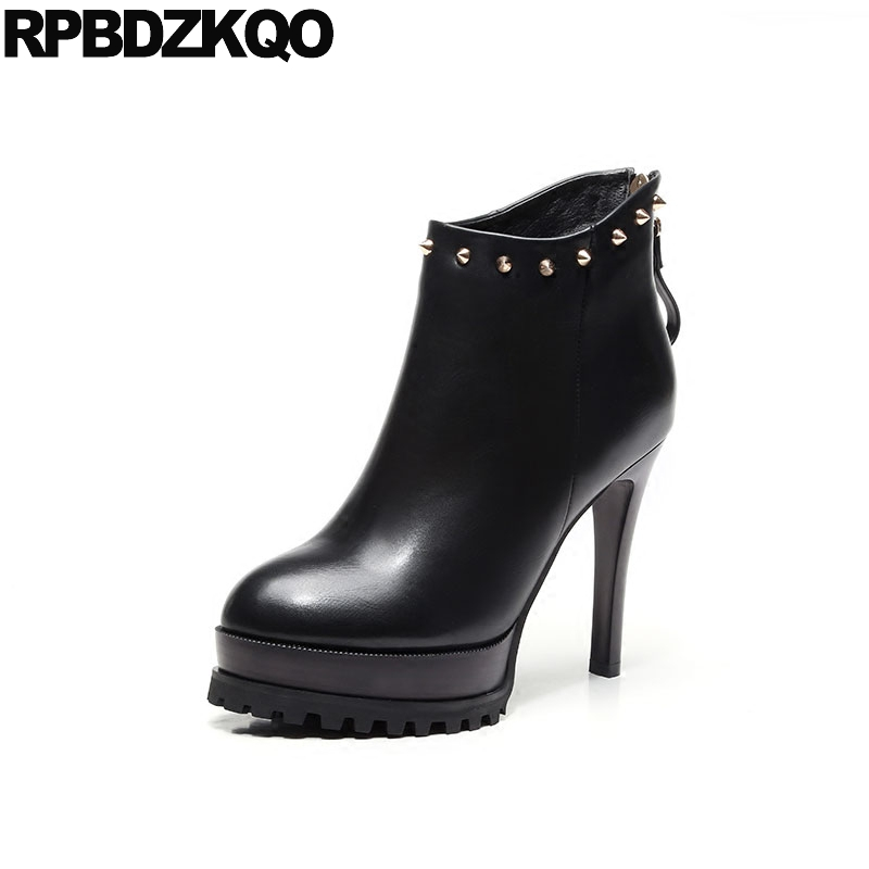 Ladies Fashion Women <font><b>Boots</b></font> Winter 2017 Shoes <font><b>Sexy</b></font> <font><b>Extreme</b></font> <font><b>Fetish</b></font> Ankle Black Platform Waterproof <font><b>High</b></font> <font><b>Heel</b></font> Zipper Rivet Booties image