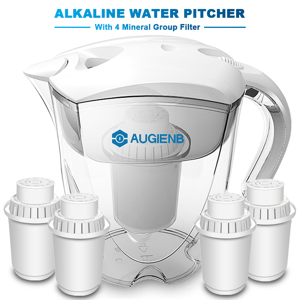 цена на Alkaline Water Pitcher Ionizer Long-Life Filters - Water Filter Purifier Filtration System - High pH Alkalizer - 3.5L