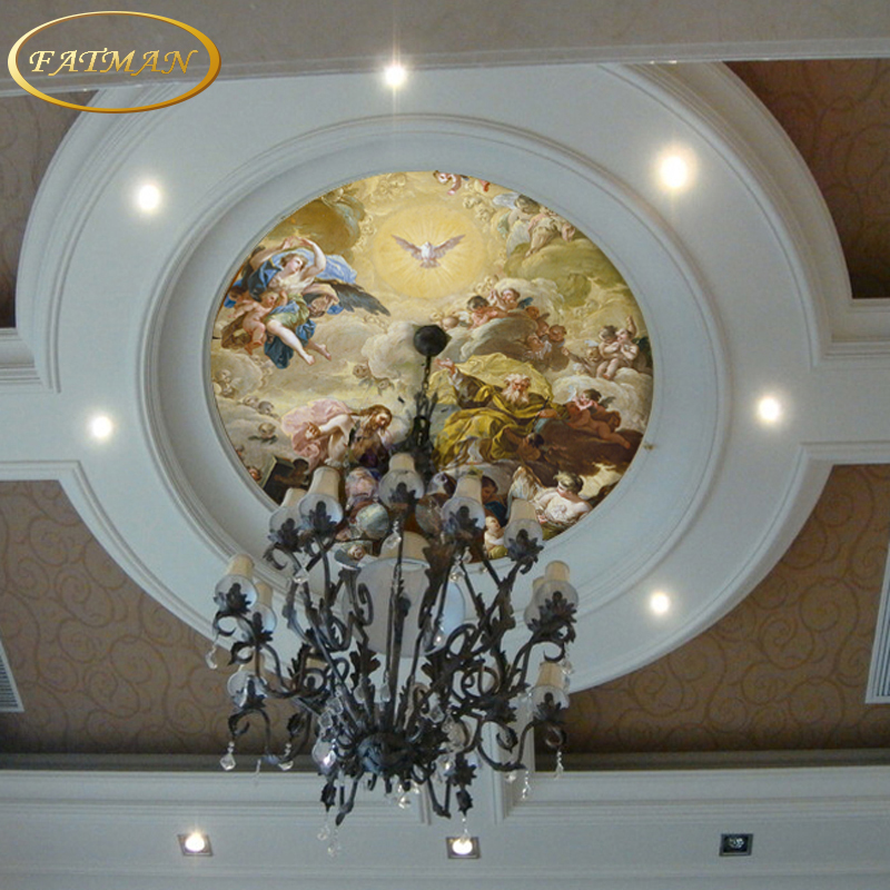 Custom 3d photo wallpaper european painting ceiling lamp for Angel wall mural