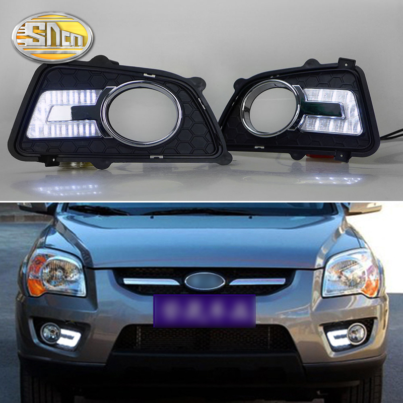 SNCN 2PCS LED Daytime Running Light For Kia Sportage 2009 2010 Dimming Style Relay Waterproof ABS 12V Car LED DRL Lamp Daylight new dimming style relay waterproof 12v led car light drl daytime running lights with fog lamp hole for mitsubishi asx 2013 2014