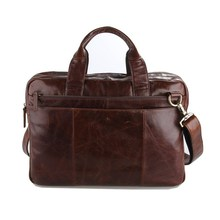 100% Real First Layer Cowhide Genuine Leather Men Briefcase Vintage Messenger Bags Men's Travel Bag Portfolio Laptop Bag J7092