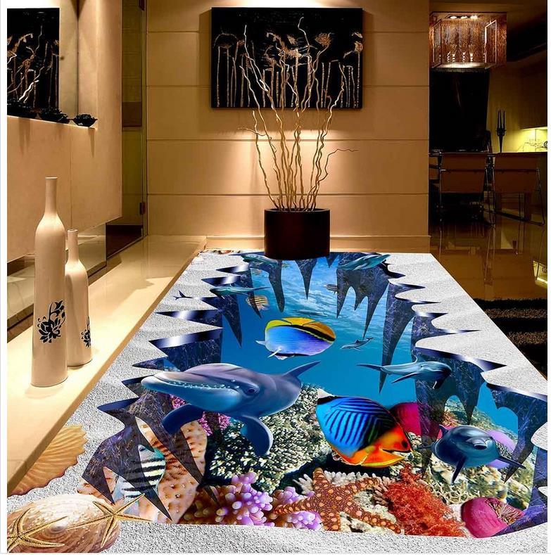 Papier peint PVC auto-adhésif sol mural sous-marin monde dauphin plage poissons personnalisé Photo sol 3D papier peint Art moderne