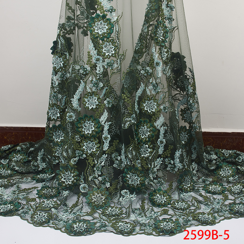 Luxury Fashion Handmade Beads Lace 2019 Latest Lemon Green Tulle Lace Fabric with Beads African Nigerian