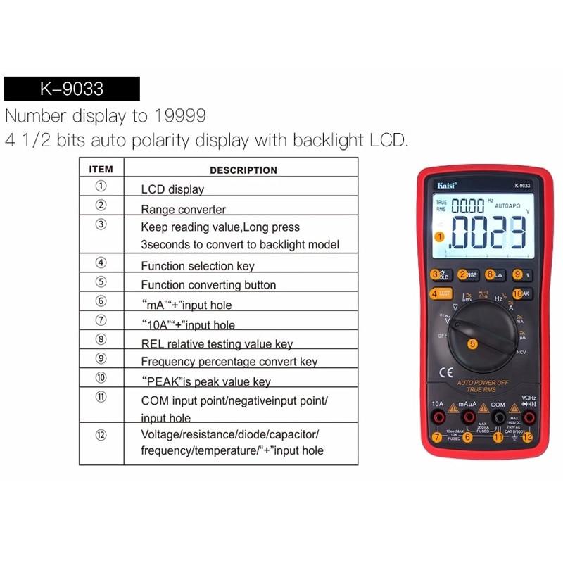 Compre K 9033 LCD De Alta Precisión Rango Multímetro Auto 4 ...