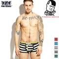 Novo 2016 Rosa Herói Masculino Boxer Shorts Man underwear Da Marca de Moda de Algodão Listrado Sexy Respirável Elástica Alta qualidade Gay XL/XXL