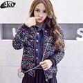 2016 Street fashion Mulheres Casaco de Inverno de Algodão Casaco Jaqueta de lantejoulas Curto de paetês Coloridos Das Mulheres Casacos de Inverno e Casacos Harajuku