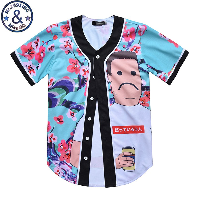 223be47f414 New Mens Button Down T-shirt Fashion Unisex Arc Bottom 3D Character Print  Baseball Team 20180527 115125 017 20180527 115125 018