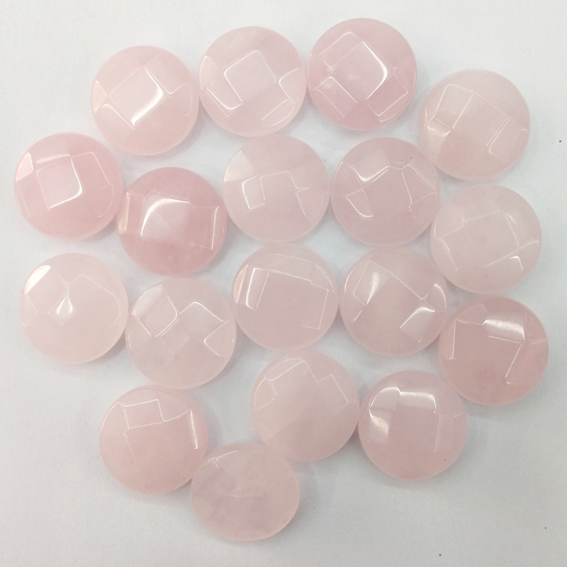 Wholesale fashion natural pink crystal stone 16MM round cut section bead for jewelry making necklace 24Pcs/lot cab cabochon Ring