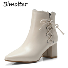 Bimolter 2019Women Ankle Chelsea Boots Fashion Brand High Heels Martin Shoes Woman Party Pumps Basic Genuine Leather Boots NC025 fedonas new women basic ankle boots autumn winter high heels martin shoes woman brand elegant genuine leather office pumps