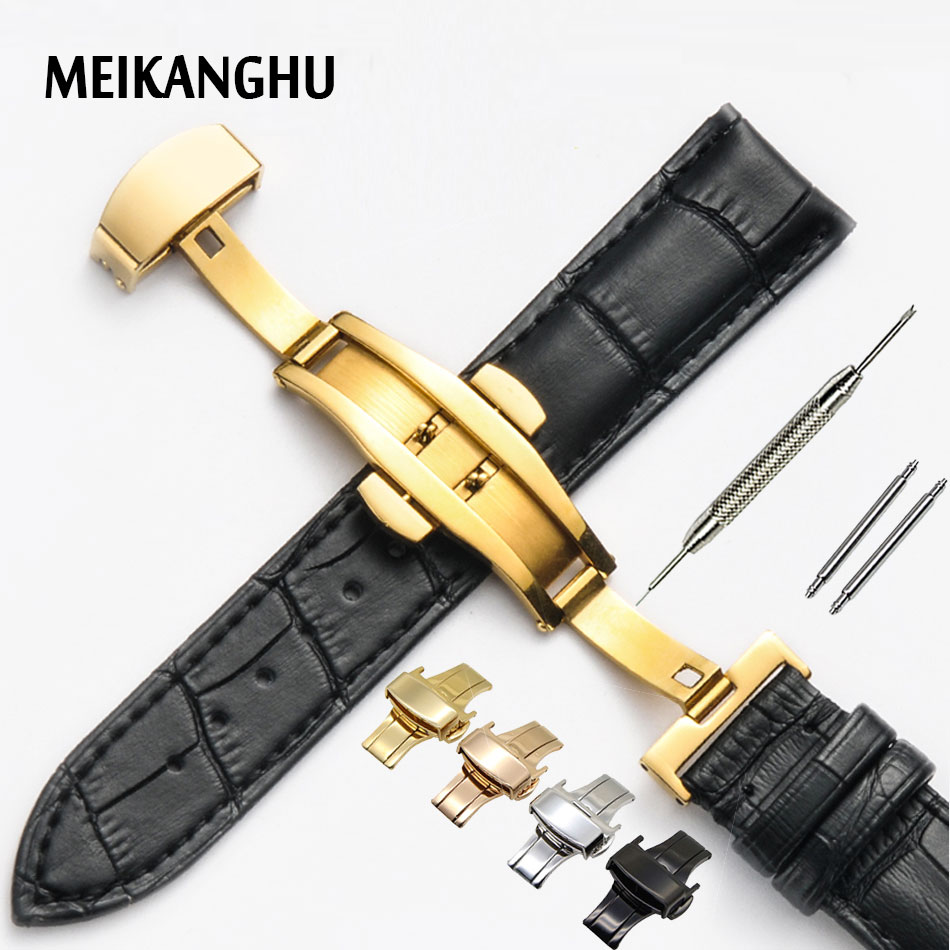 Genuine Leather Watchband Rose Gold Butterfly Buckle Watch Band Croco Grain Bracelet for Watch Strap 16 18 19 20 21 22 mm Cinta цена