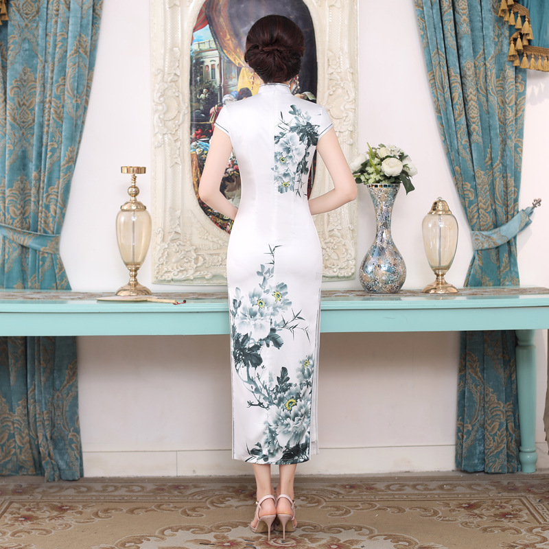 f2753431b ... Women Novelty Print Traditional Chinese Dress New Arrival Satin Sexy  Long Qipao Female Vintage Flower Tight ...