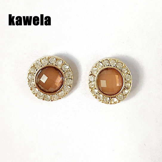 Free Shipping Round Brown Cab Crystal Stone Delicate Fashion Earring