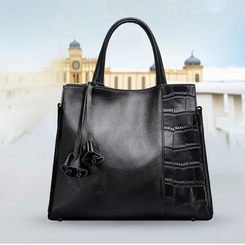 European Style Fashion Genuine Leather Lady Handbag Solid Color Soft Cow Leather Zipper Tote Shopping Top-handle Bag Friend Gift