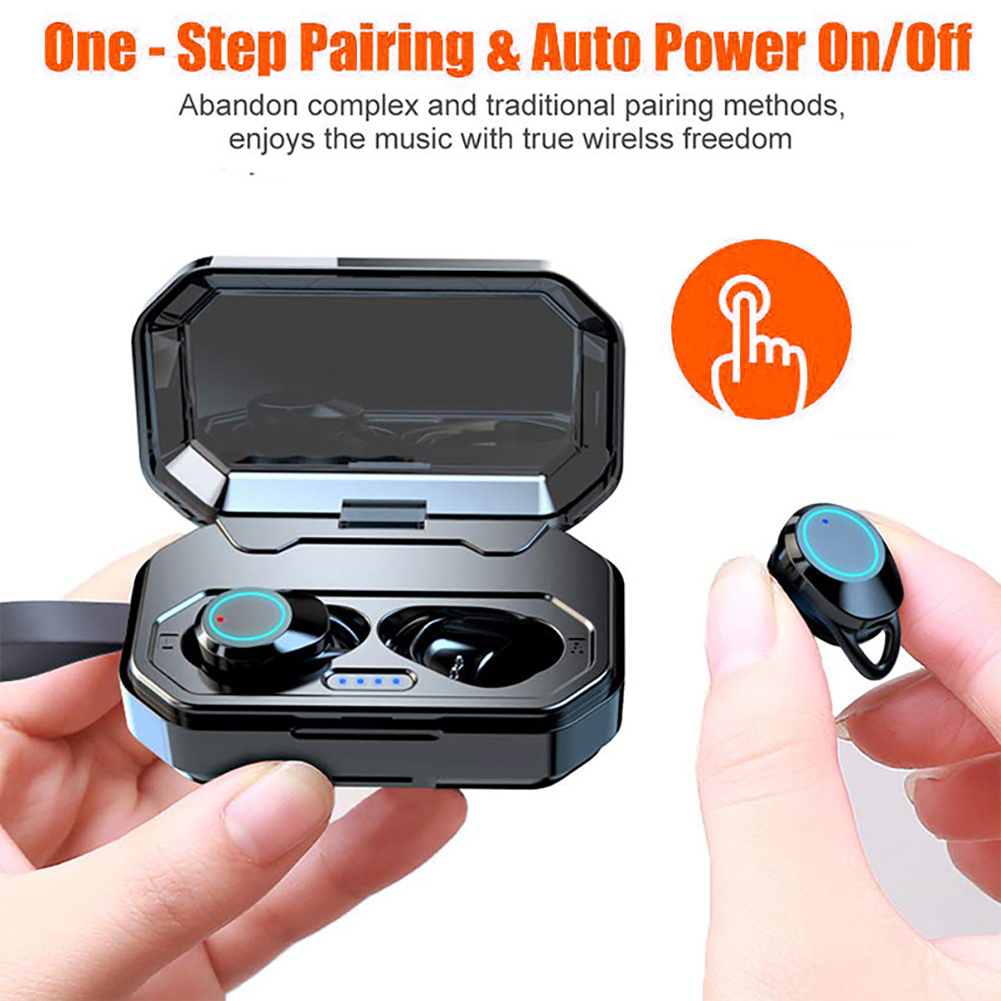 IPX7 Waterproof  Wireless Bluetooth Earphones 5.0 Touch Control TWS Earphones 2 Earbuds headset with 3000 mah charging boxIPX7 Waterproof  Wireless Bluetooth Earphones 5.0 Touch Control TWS Earphones 2 Earbuds headset with 3000 mah charging box