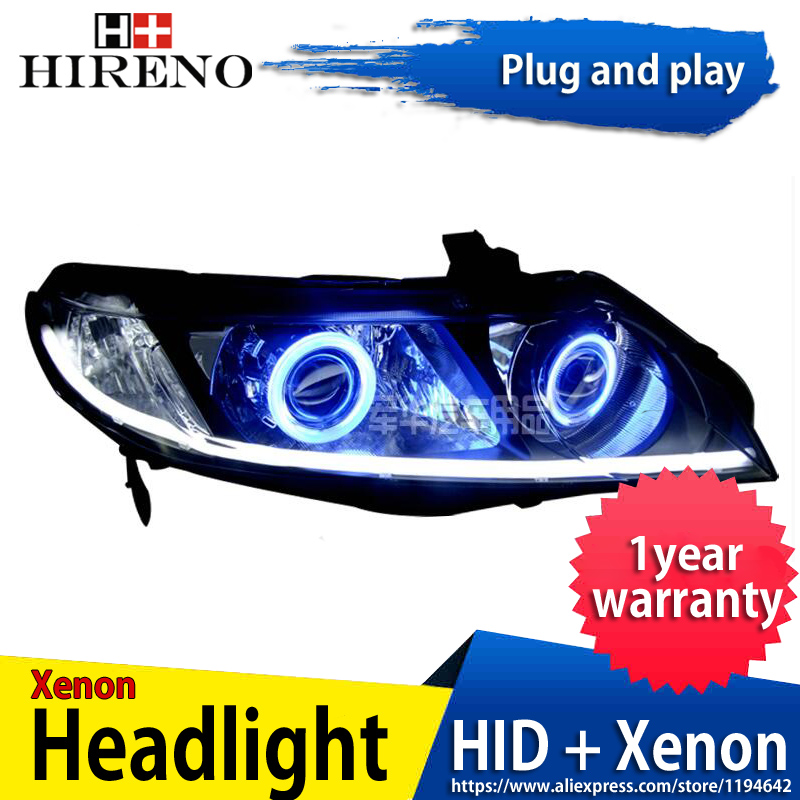 Car custom Modified Xenon Headlamp for Honda Civic 2006-11 Headlights Assembly Car styling Angel Lens HID 2pcs hireno headlamp for mercedes benz w163 ml320 ml280 ml350 ml430 headlight assembly led drl angel lens double beam hid xenon 2pcs