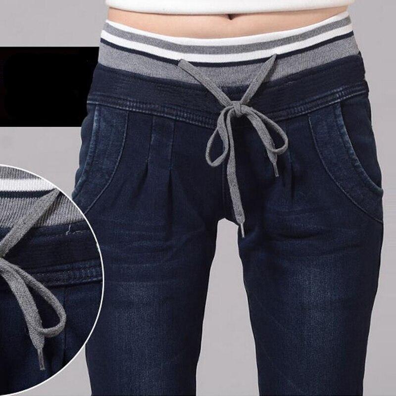 Women Jeans Spring Autumn 2018 Plus Size XXXXL Water Wash High Waist Hemming Capris Casual Fat Loose Jeans Women Denim Pants
