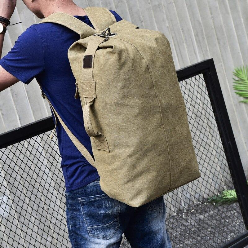 Large Capacity Men Backpack Mochila Canvas Bucket Travel Backpack Luggage Floding Back Pack Shoulder Bag Laptop Backpack