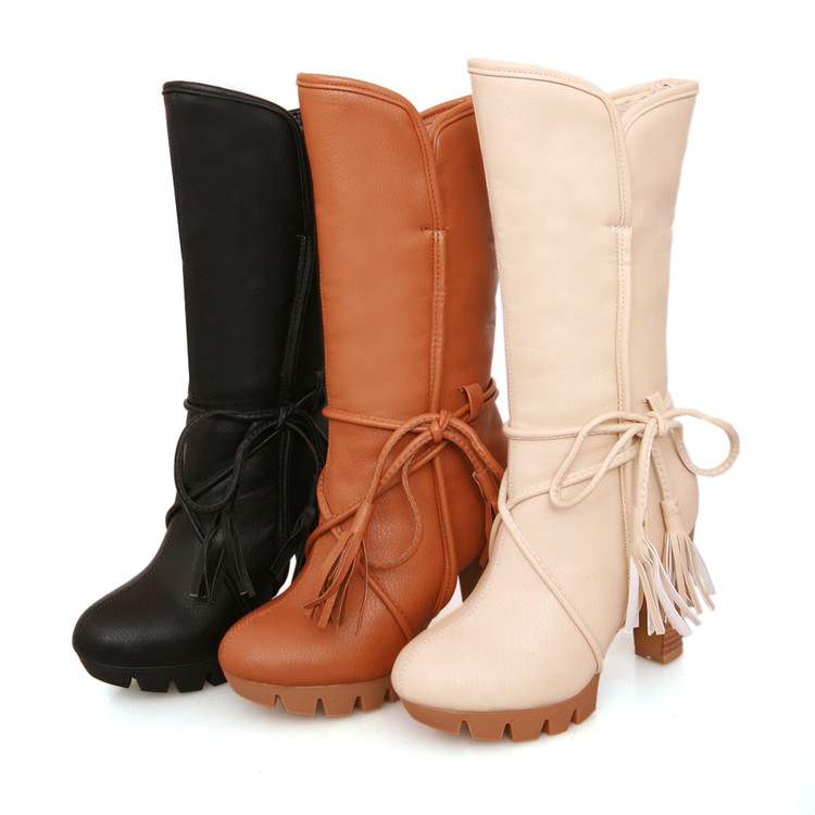 Snow Boots 2017 New Fashion Middle Boot Motorcycle Martin Mid Calf Boots For Women Autumn Winter Snow High Plus Size 43 T-17 autumn winter women martin snow boots