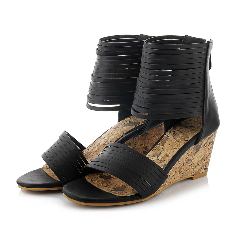 ФОТО Fashion Casual Ankle Wrap Women Sandals Wedge High Heels Sandals Back Zipper Open Toe Sexy Dress Party Black Summer Ladies Shoes