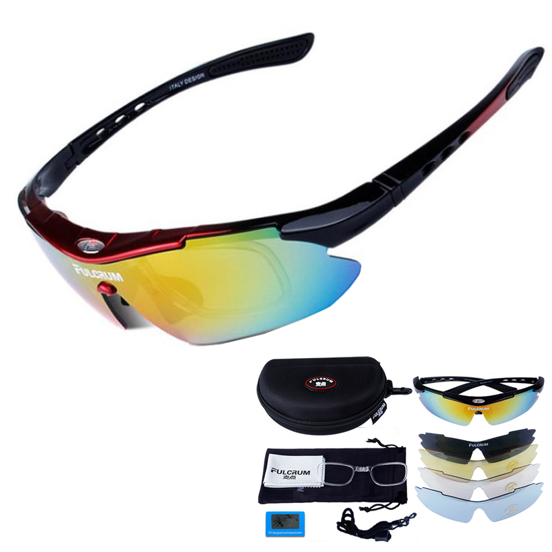 Professional Polarized Cycling Glasses Bike Goggles Outdoor Sports Bicycle Sunglasses With 6 Lens Myopia Frame two tone frame round lens sunglasses