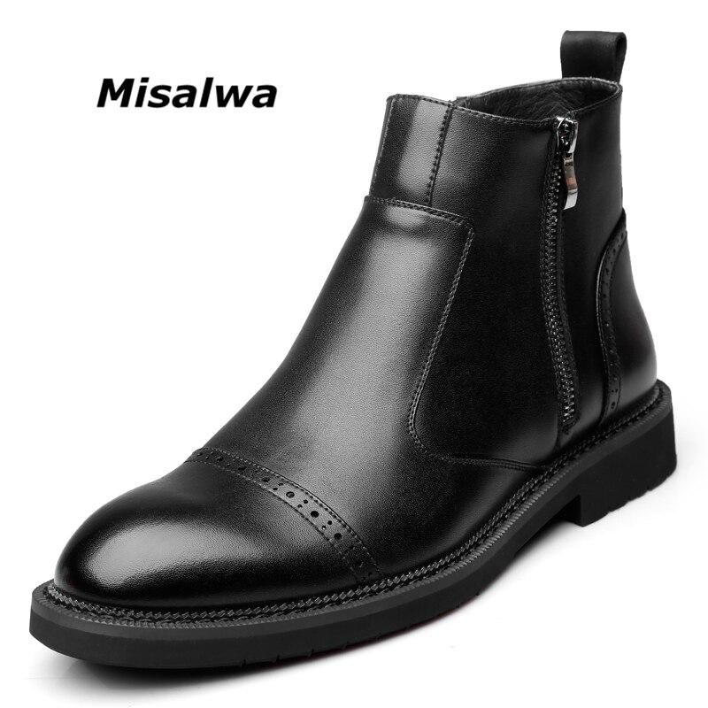 Misalwa Hommes de Noir En Cuir Cheville Bottes Chelsea Chaussures Neige Laine Chaude En Peluche Mode Casual Zipper Hiver Moto Bottes